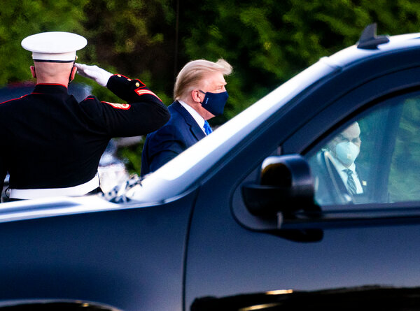 President Donald Trump arriving at Walter Reed Medical Center on Friday, after testing positive for the coronavirus.