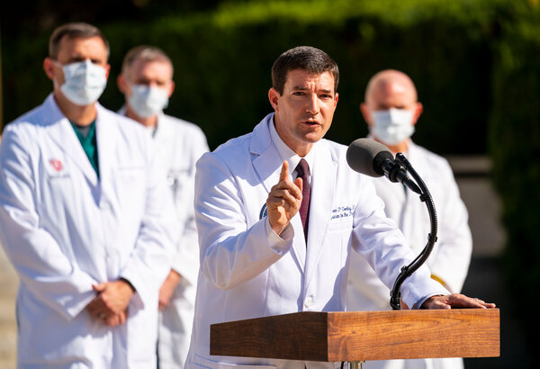 Dr. Sean P. Conley, President Trump's physician, speaking to reporters outside the Walter Reed medical center on Monday.