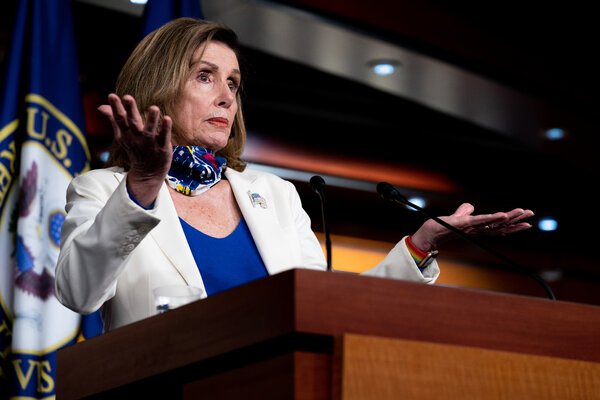 Though Speaker Nancy Pelosi said that Congressional leaders were making progress toward a deal, the two sides remain far apart.