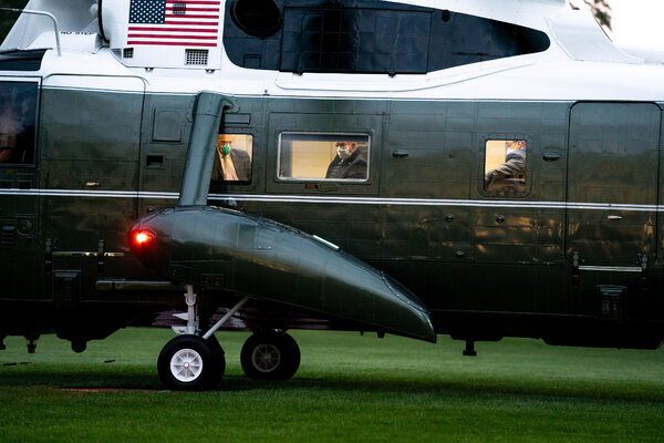 President Trump looks out from Marine One upon his return to the White House on Monday.