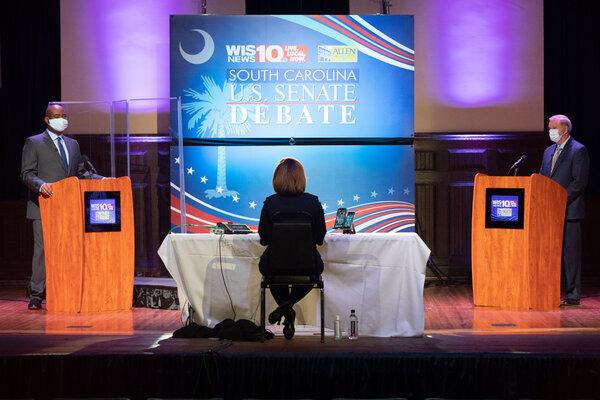 Senator Lindsey Graham, right, and his challenger, Jaime Harrison, debating in Columbia, S.C., last week.
