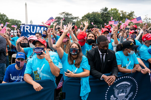 The crowd on the South Lawn of the White House for President Trump's public appearance on Saturday.