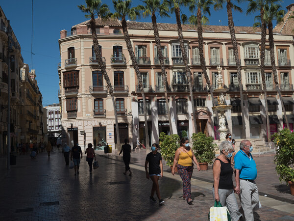 In Malaga, Spain, this summer. Last week, the central bank said the country's economy could contract 12.6 percent this year.