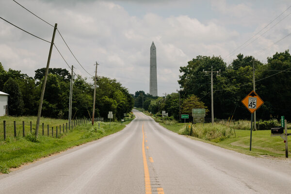 The Jefferson Davis Monument in Fairview is two-thirds the size of the Washington Monument. In 1924 it was meant to be the crown jewel of a highway leading tourists to Confederate hallmarks.
