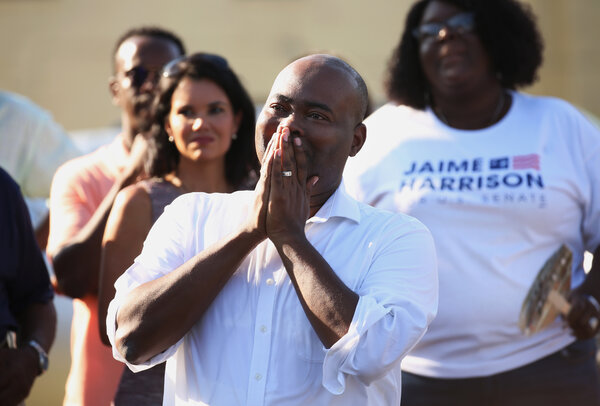 Jaime Harrison at the kickoff of his Senate campaign in Orangeburg, S.C.