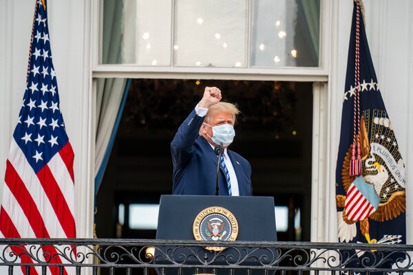 President Trump delivering remarks to supporters from a balcony of the White House overlooking the South Lawn on Saturday.