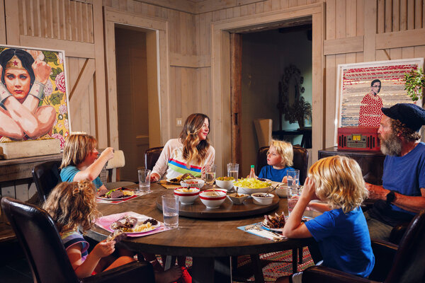 Sara Blakely, the founder of Spanx, and her husband, Jesse Itzler, at home for dinner with their four children.