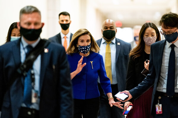 "Nancy Pelosi said Sunday that relief talks were at an ""impasse,"" with disagreements over the nature of the aid rather than the size of the bill."