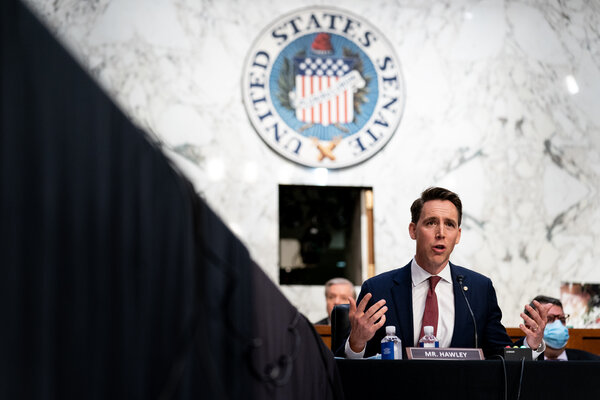 """""""In fact, it is an attempt to bring back an old standard that the Constitution explicitly forbids,"""" said Senator Josh Hawley, Republican of Missouri. """"I'm talking about a religious test for office."""""""