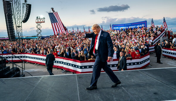 "President Trump arriving at a campaign rally in Sanford, Fla., on Monday. His campaign's senior strategist said Mr. Trump's schedule would include ""two to three events a day, and that will grow as we get closer to Election Day."""