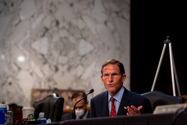 Senator Richard Blumenthal, Democrat of Connecticut, pressed Judge Barrett repeatedly about her omission of two documents with her signature expressing opposition to abortion rights.