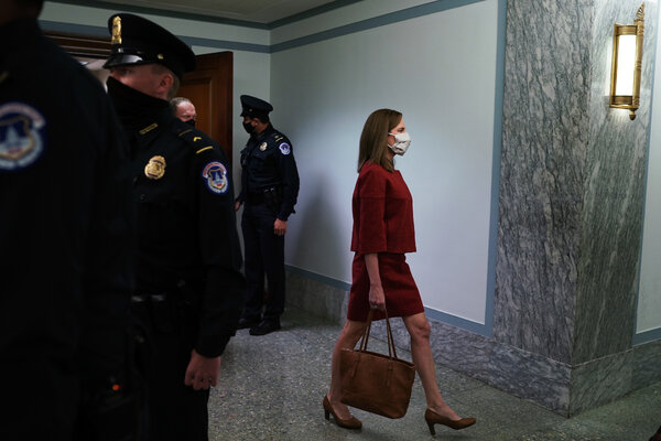 Judge Amy Coney Barrett arriving in the Capitol on Tuesday.