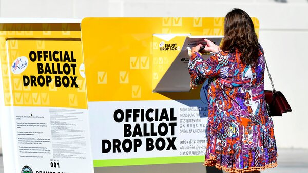 An official ballot drop box in Santa Ana, Calif. Republicans are putting up unauthorized drop boxes that the state says are deceptive and illegal.