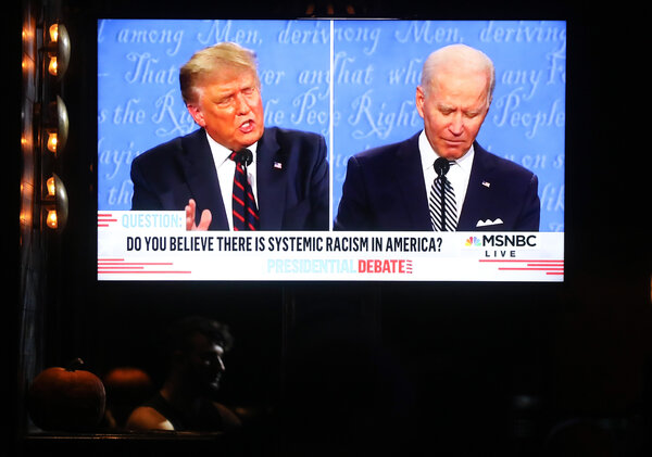 People watched the first debate between President Trump and Joseph R. Biden Jr. in West Hollywood, CA. A second debate set for Thursday night was canceled after Mr. Trump refused to participate virtually