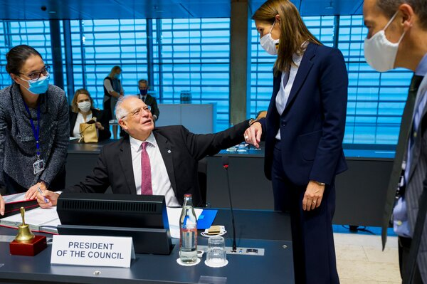 Prime Minister Sophie Wilmès of Belgium, second from right, at a gathering of the Foreign Affairs Council in Luxembourg on Monday.