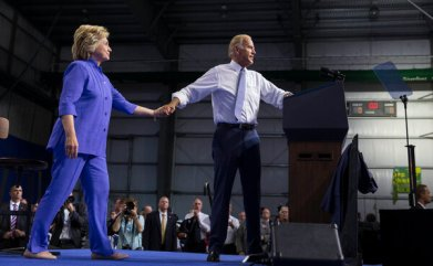 Hillary Clinton and Mr. Biden at a campaign rally in Scranton, Pa., in 2016. Voters who turned against Mrs. Clinton and who now back Mr. Biden present varying rationales.