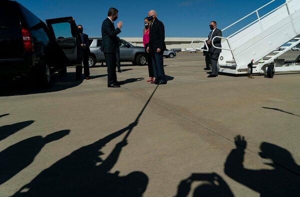 Former Vice President Joseph R. Biden Jr. arriving in North Carolina on Sunday.