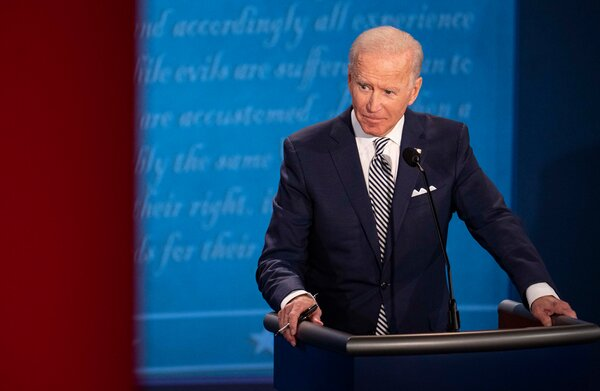 Mr. Biden at the first presidential debate.His campaign has amounted to a monthslong condemnation of Mr. Trump's leadership — in words and deeds, at home and on the world stage.