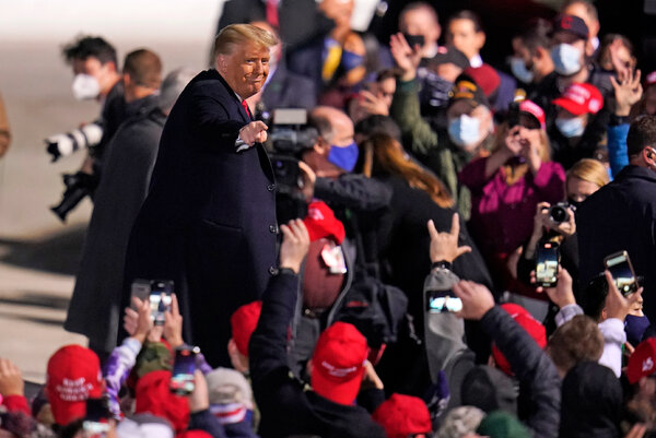 President Trump at a rally in Erie, Pa., last week. He will return to Pennsylvania today to hold three more rallies.