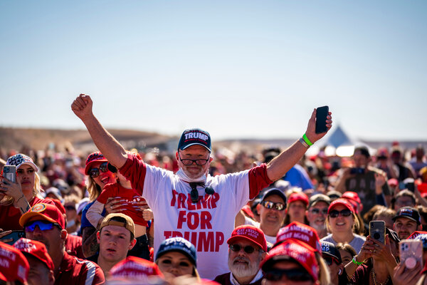 A crowd of Trump supporters during a campaign rally in Bullhead City, Ariz.