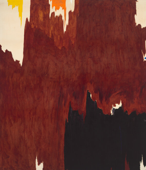 """Clyfford Still's """"1957-G"""" (1957) was to have been sold at auction on Wednesday, but officials of the Baltimore Museum of Art changed their mind after much criticism of their plan."""