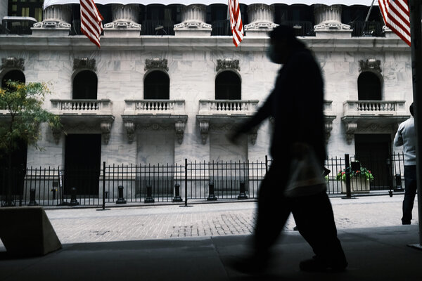 The New York Stock Exchange. U.S. stocks fell sharply on Wednesday as fears grow over the pandemic's new wave across Europe and parts of America.