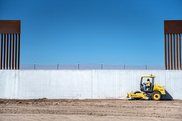 Construction of the border wall continues near McAllen, Texas. The Trump administration has secured about $15 billion to build 731 miles of wall.