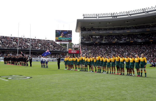 A rugby match between New Zealand and Australia was played in front of spectators this month in Auckland.