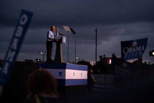 Former President Barack Obama speaking in Philadelphia earlier this month.