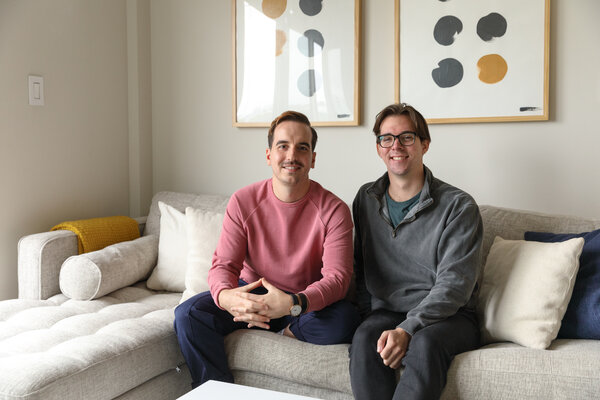 Marc Jenkinson, left, and Peter Englert, volleyball teammates, were each living solo, but when the pandemic arrived, they decided to share a two-bedroom to help ease the solitude.