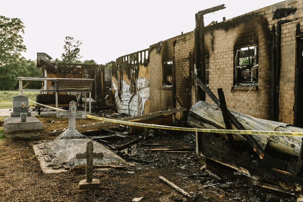 Greater Union Baptist Church in Opelousas, La., after it was damaged in a fire on April 2, 2019.