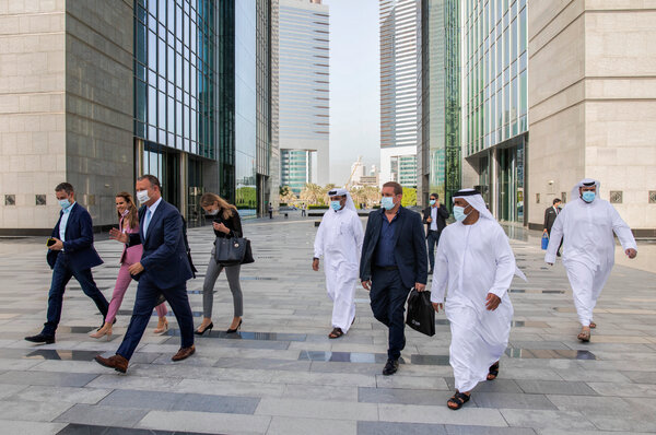 Erel Margalit, third from left, who led the Israeli delegation on a tour of Dubai's financial district.