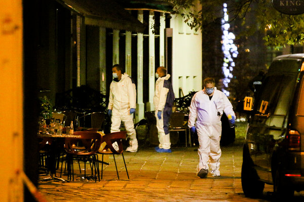 Investigators on Tuesday at the scene of the attack in Vienna the night before.