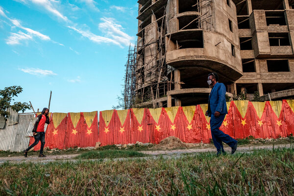 Flags representing the Tigray region of Ethiopia lining a wall in the Tigrayan city of Mekele. The region has experienced rising conflict with the federal government.
