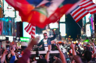 Thousands of people filled Manhattan's Times Square to celebrate Joseph R. Biden Jr., winning the presidential race.