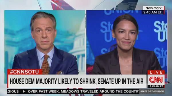 "Representative Alexandria Ocasio-Cortez of New York on the CNN program ""State of the Union"" with Jake Tapper on Sunday."