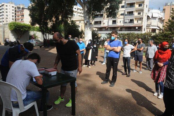 A virus testing site in Haret Hreik, south of Beirut, in October.
