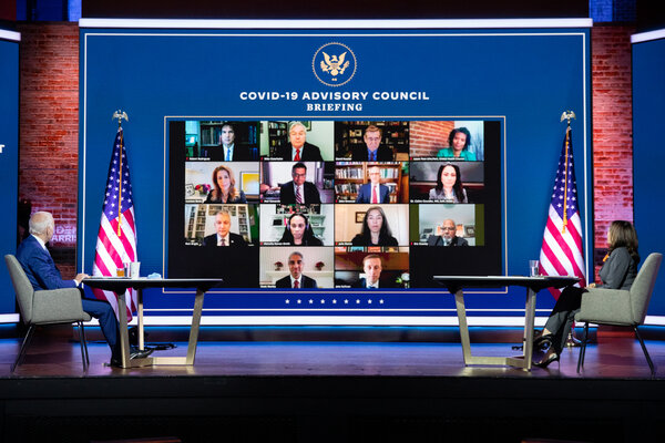 President-elect Joseph R. Biden Jr. and Vice President-elect Kamala Harris met with their Covid-19 Advisory Council via Zoom in Wilmington, Del., on Monday.