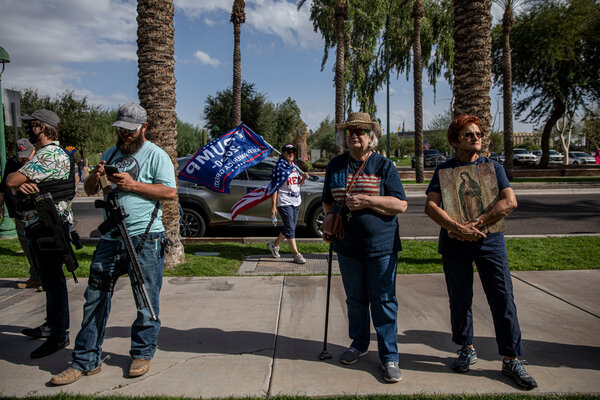 Trump supporters gathered outside the Arizona capitol in Phoenix last week.