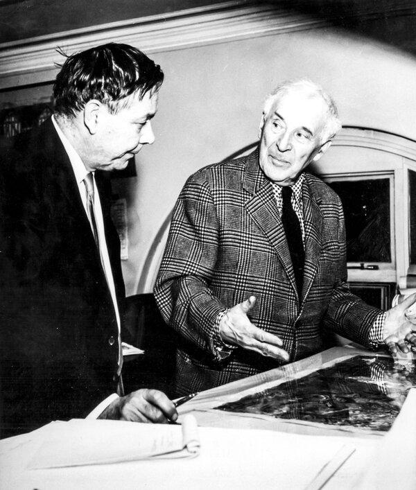 "Chagall, right, with Volodia Odinokov, his collaborator on the ""Magic Flute"" opera set, in 1967."