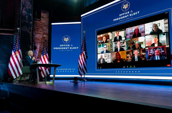 President-elect Joseph R. Biden Jr. is mostly conducting his transition remotely from Wilmington, Del.