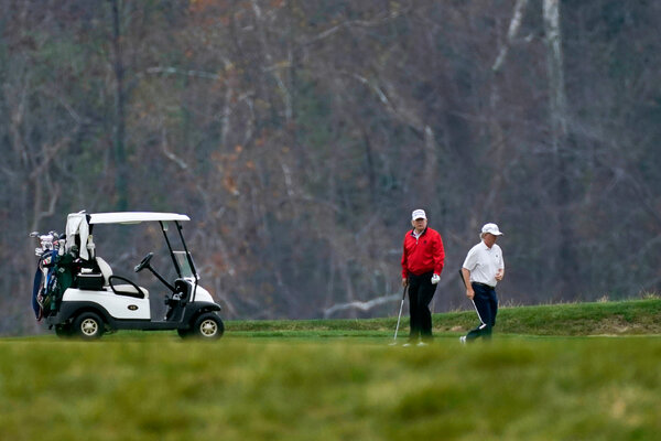 President Trump at the Trump National Golf Club in Sterling, Va., on Saturday. The president has played golf every weekend since Election Day.