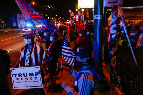 Supporters of President Trump celebrated in Miami's Little Havana neighborhood after Mr. Trump won Florida on election night.