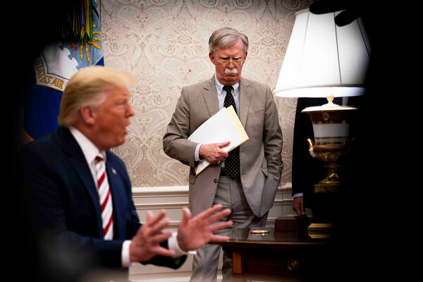 """John R. Bolton, President Trump's former national security adviser, compared the president's behavior to that of """"a street rioter."""""""