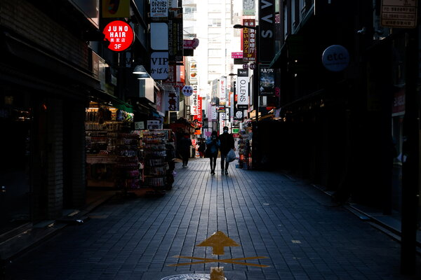 An empty shopping district in Seoul, South Korea, on Monday.