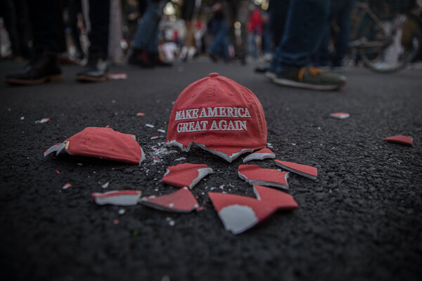 A broken MAGA hat decoration lying on the street in Washington, DC on Election Day.