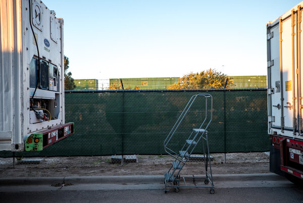 Mobile morgue trailers stationed outside the medical examiner's office in El Paso, Texas, this month.