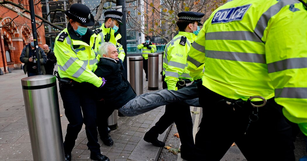 The London police arrest over 150 people protesting against England's coronavirus lockdown and vaccines.