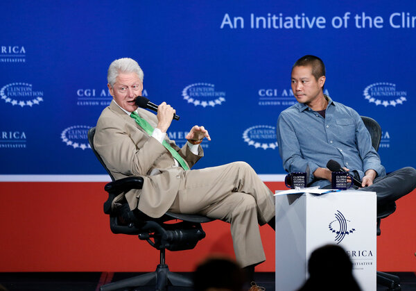 Mr. Hsieh in 2014 with President Bill Clinton at the annual gathering of the Clinton Global Initiative.