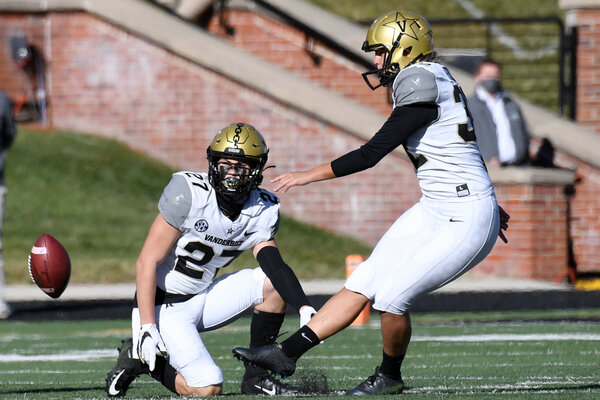 Vanderbilt's Sarah Fuller kicking off against the University of Missouri on Saturday, becoming the first woman to play for one of college football's Power 5 conferences.